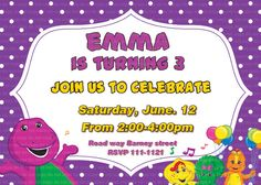 Barney party Birthday invitation