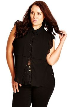 City Chic Lace Layer Shirt (Plus Size) available at #Nordstrom