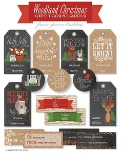 Free printables: Woodland Christmas Labels and Tags in chalkboard and kraft.