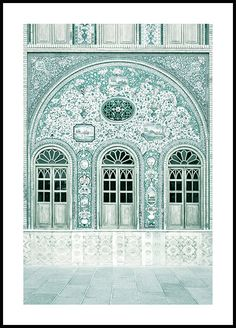 Beautiful architectural poster of a facade at the Golestan Palace in the capital of Iran, Tehran. It is one of the oldest historical monuments of Tehran and is included in the World Heritage List. The building was originally not coloured turquoise. New York Poster, Paris Poster, Bike Poster, Window Poster, Poster Mural, Poster Prints, Morning Sun, Poster Xxl, Poster Photo