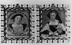 A matching set of Miniatures of Henry VIII and Queen Katherine of Aragon, c. 1525 by Lucas Hornbout.  The 'HK' around the miniature of Henry is called a 'loveknot', it is Henry's intial intwined with Katherine's.