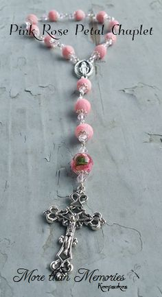 Pink Rose Petal Chaplet http://abanister1.wixsite.com/morethanmemories