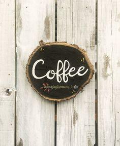 Wood Coffee Sign Wood Slice Hand Painted Rustic Decor, Arrow Tribal Coffee Kitchen Decor, Coffee Bar, Boho Shabby Shic Coffee Decor