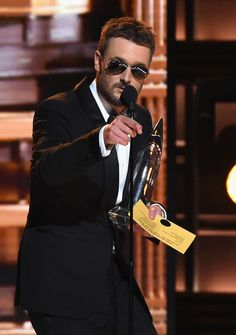Eric Church accepts the award for Album of the Year onstage at the 50th annual CMA Awards at the Bridgestone Arena on November 2, 2016 in Nashville, Tennessee.
