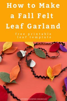 Make a big pile of felt fall leaves with the free printable template and sew a simple fall leaf garland. #fallleafcraft #simplesewingproject #beginnersewing #fallcraft #falldecor #garland #feltcraft #kitchencounterchronicles Fall Activities For Toddlers, Thanksgiving Activities For Kids, Crafts For Kids To Make, Thanksgiving Decorations, Crafts For Teens, Craft Projects For Adults, Easy Sewing Projects, Diy Projects, Autumn Leaves Craft