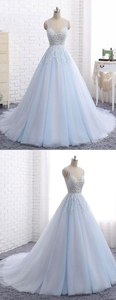 Elegant Prom Dresses, Elegant A-Line V-Neck Blue Tulle Long Prom/Evening Dress with Appliques Shop for La Femme prom dresses. Elegant long designer gowns, sexy cocktail dresses, short semi-formal dresses, and party dresses. Elegant Bridesmaid Dresses, Trendy Dresses, Sexy Dresses, Beautiful Dresses, Nice Dresses, Fashion Dresses, Prom Dress Stores, Prom Dresses 2018, Dress Prom