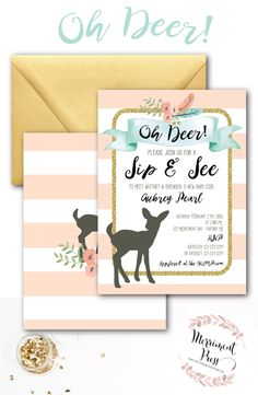 Oh Deer Sip and See Invitation // Oh Deer // by MerrimentPress Sip And See Invitations, Party Invitations, Sip N See, Mint Gold, Letter Sample, Oh Deer, Baby Boy Shower, Baby Showers, Bright Future