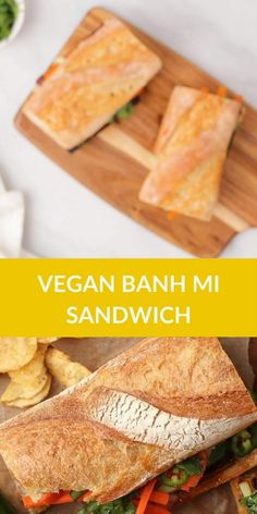Bite into this meaty and perfectly flavored Tofu Banh Mi with quick pickled carrots and cucumbers and topped with creamy Bánh Mî sauce. Easy Vegetable Soup, Easy Vegetable Recipes, Veggie Recipes Healthy, Quick Vegetarian Meals, Vegan Sandwich Recipes, Vegan Dinner Recipes, Delicious Vegan Recipes, Vegan Dinners, Vegan Sandwiches