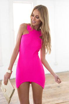 Neon Pink Halter Top Bodycon Zip Up Back Dress #ustrendy www.ustrendy.com