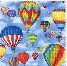 Quilt Fabric Windham Up in The Air Hot Air Balloons Free Shipping | eBay