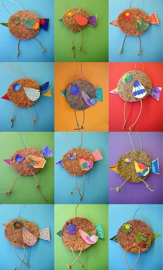 Birds by NeusaLopez Feather Crafts, Bird Crafts, Diy And Crafts, Arts And Crafts, Spring Art, Spring Crafts, Diy For Kids, Crafts For Kids, Unicorn Diy