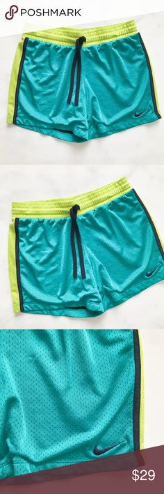 NIKE Dri-Fit Athletic Mesh Running Shorts Cute brightly colored running shorts from Nike. Mesh. Size XS. Great pre-loved condition. No stains, no excessive signs of wear. Nike Shorts