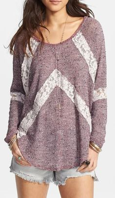 Free People Flying V Lace Inset Pullover