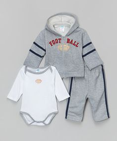 Love this Heather Gray 'Football' Appliqué Zip-Up Hoodie Set - Infant by Coney Island Kids on #zulily! #zulilyfinds
