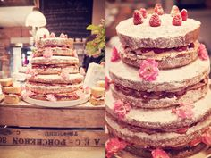 Tower of Victoria sponge cake filled with jam, fresh fruit and cream or butter icing.  All finished off with a dusting of icing sugar, dainty roses and a crown of fresh raspberries.