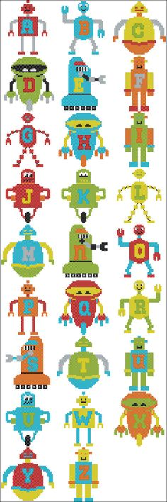 Cross Stitch Robot Alphabet by KirstysKrossStitch on Etsy, £5.00