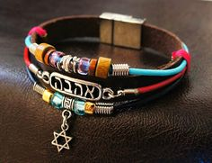 Colorful Hebrew Love Charm Bracelet, Tribal Style with Beads and Leather, Handmade Jewelry