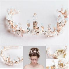 Items similar to Lavender Tanzanite Floral Crystal Bridal Headband - Gold Bridal Flower Crown - Sparkling Gold Wedding Crystal Head Piece on Etsy Bridal Crown, Bridal Tiara, Headpiece Wedding, Wedding Bride, Circlet, Tiaras And Crowns, Ring Verlobung, Bridal Flowers, Hair Jewelry
