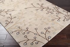 Athena Area Rug | Gray Floral and Paisley Rugs Hand Tufted | Style ATH5008