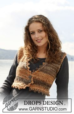 Knitted DROPS waistcoat with crochet border in Inka. Size S - XXXL. Free pattern by DROPS Design.