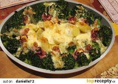 Brokolice ve smetaně s brambory a slaninou recept - TopRecepty.cz Sprouts, Quiche, Broccoli, Meat, Chicken, Vegetables, Breakfast, Food, Morning Coffee