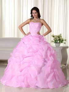 Cheap Organza Beaded Pink Quinceanera Gown Dress with Pick-ups