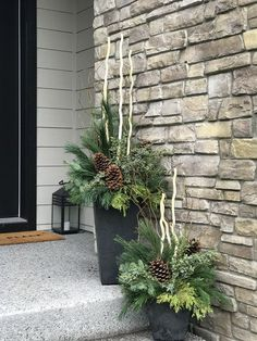 Winter container gardens Designing with plants for over 25 years both in her personal and professional life, Catherine utilizes her knowledge of plants in every container design to ensure that they look great, are sustainable, an Outdoor Christmas Planters, Christmas Urns, Christmas Garden, Rustic Christmas, Christmas Wreaths, Outdoor Planters, Winter Container Gardening, Winter Planter, Christmas Floral Arrangements