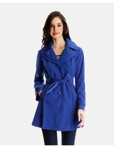 Iris Trench Coat with Double Lapel and Detachable Hood