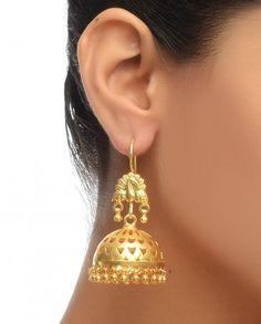 Jhumki Earrings with Peacock Motif