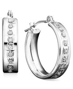 14k White Gold Earrings, Diamond Accent Mini Hoop Earrings