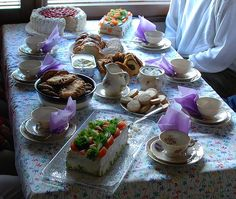 A beautiful and delicious Finnish coffee table  with typical Scandinavian table sandwich cake.