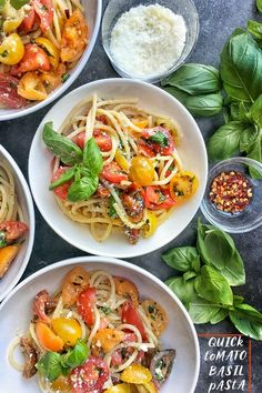 Quick Tomato Basil Pasta is a great idea for a simple weeknight dinner. Find the recipe on Shutterbean.com