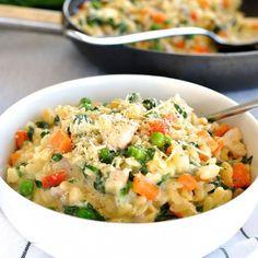 One Pot Creamy Chicken, Vegetable & Parmesan Orzo (Risoni) | RecipeTin Eats
