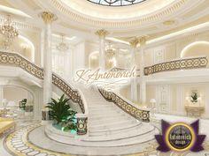 Professional Entrance Design in Dubai by Luxury Antonovich Design Mansion Interior, Luxury Interior, Home Interior Design, Luxury Staircase, Staircase Design, Grand Staircase, Elegant Home Decor, Elegant Homes, Villa Design