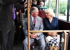 Prince Charles, Prince of Wales and Camilla, Duchess of Cornwall take a short ride on a New Bus for London during a visit to WrightBus on June 25, 2013 in Ballymena, County Antrim, Northern Ireland