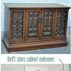 10 diy upcycling home decor projects that inspired me this week, crafts, home decor, repurposing upcycling, 1 Centsational girl really knocked it out of the park on this one It truly takes a visionary to see the potential in this dated piece I LOVE how chic she made this clunky cabinet look KUDOS