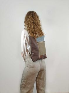 Backpack for women Macbook Pro 13, Macbook Air, Convertible Backpack, Stripe Print, Leather Wallet, Fashion Backpack, Shoulder Bag, Backpacks, Stylish