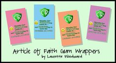 Article of Faith gum wrappers...great prize for learning them