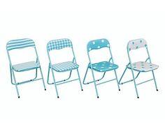 Set de 4 sillas plegables de aluminio y PVC - azul celeste