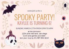 Glitter Halloween - Birthday Invitation #invitations #printable #diy #template #birthday #party Halloween Birthday Invitations, Birthday Invitation Templates