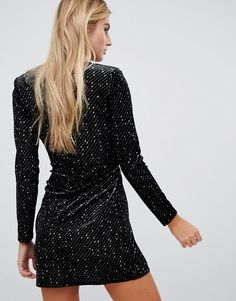 Shop Missguided velvet glitter wrap front mini dress in black at ASOS. Black Sparkly Dress, Black Glitter, Fashion Outfits, Fashion Tips, Fashion Clothes, Ripped Denim, Missguided, Nice Dresses, Fashion Online