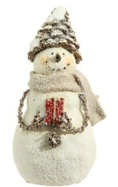 Delton Products Ceramic Snowman with Tree 5.5 Inches x 5 Inches Set Home Decor