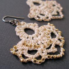 PDF Crochet Pattern -- Edwardian Beaded Lace Earrings via Etsy