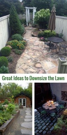 Tips for downsizing the lawn, save money, save environment, save time.