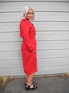 Items similar to RARE Vintage Designer Red Pierre Cardin Dress Coat Double Breasted Coat, Pierre Cardin, Coat Dress, Vintage Designs, Button Up, High Neck Dress, Slim, Fitness, Sleeves