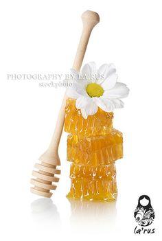 Honeycomb slice with honey dipper Buy this photo: http://www.istockphoto.com/stock-photo-22132349-honeycomb-slice-with-honey-dipper.php?st=ff01df0