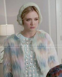 Chanel 3's rainbow fur jacket on Scream Queens.  Outfit Details: http://wornontv.net/52216/ #ScreamQueens