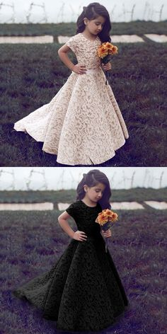 A-Line Jewel Short Sleeves Sweep Train Ivory Lace Flower Girl Dress, rustic lace flower girl dresses with sleeves, country lovely little girl dresses #littlegirl