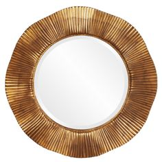 Add a pop of style to your home decor with this uniquely textured round mirror. This contemporary mirror is finished in gold leaf with copper accents, making it an interesting piece for any bathroom, bedroom, living room or hallway.