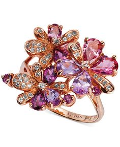 Le Vian Multi-Stone Flower Ring in 14k Rose Gold (2-3/4 ct. t.w.) -- unbelievable sale price at Macy's on this Le Vian ring!